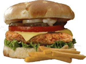 Чикен бургер с соусом спайси