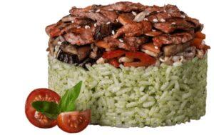 Рис Песто с телятиной и овощами в бадьяновом соусе