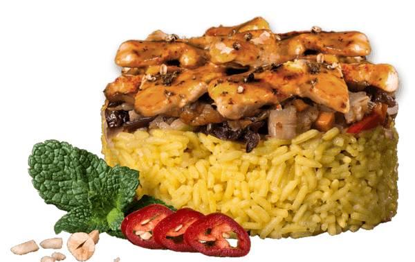Шафрановый рис с курицей в соусе терияки